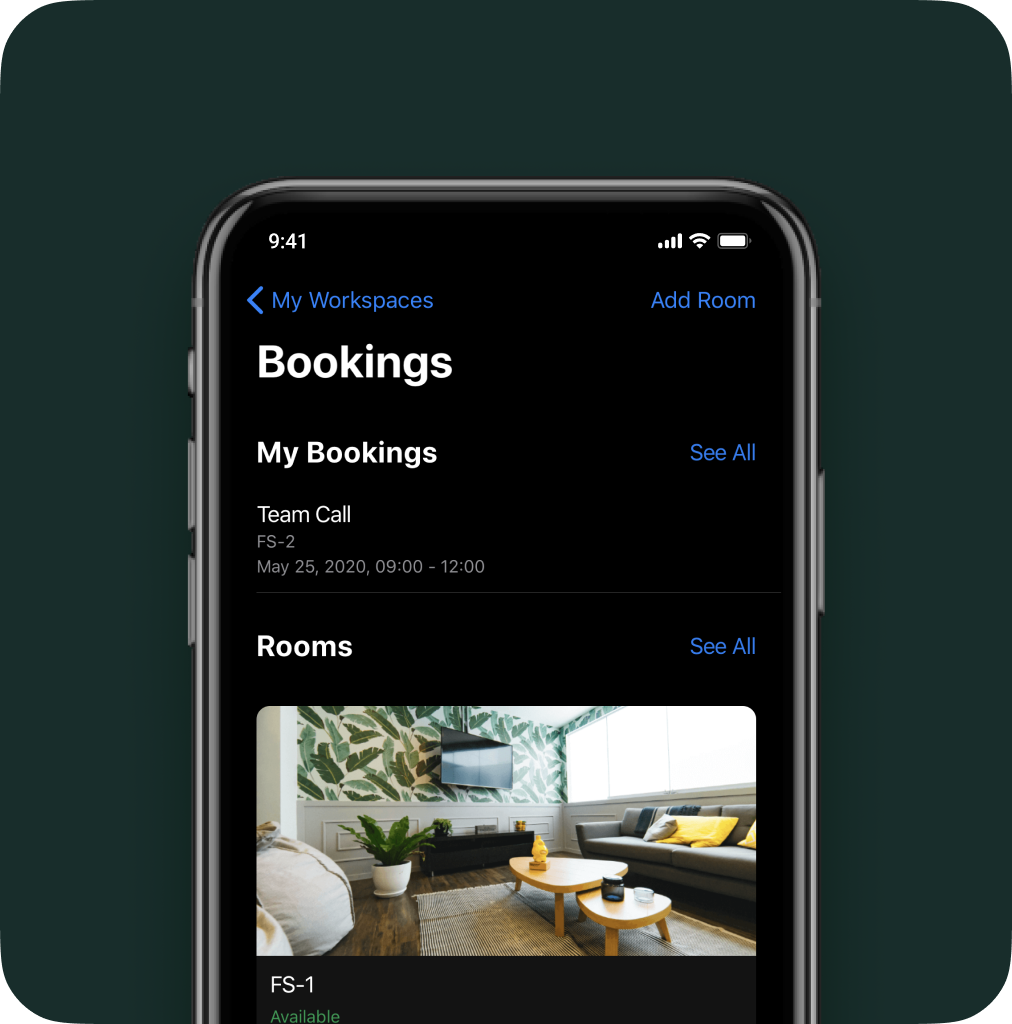 andcards coworking app with room booking solution.